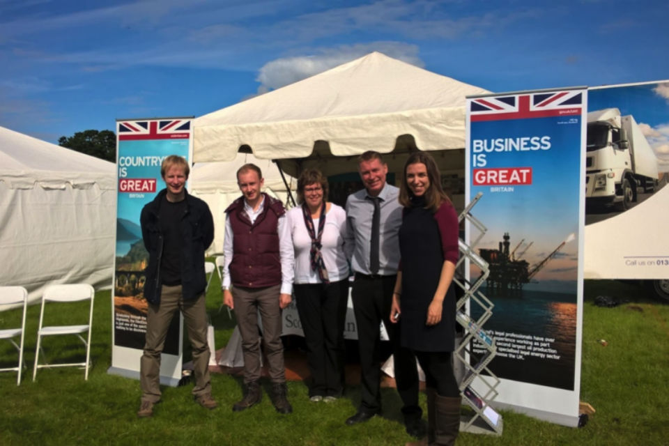 Scotland Office and local Jobcentre Plus staff setting up the UK Government in Scotland tent at the Borders Union Show, Kelso