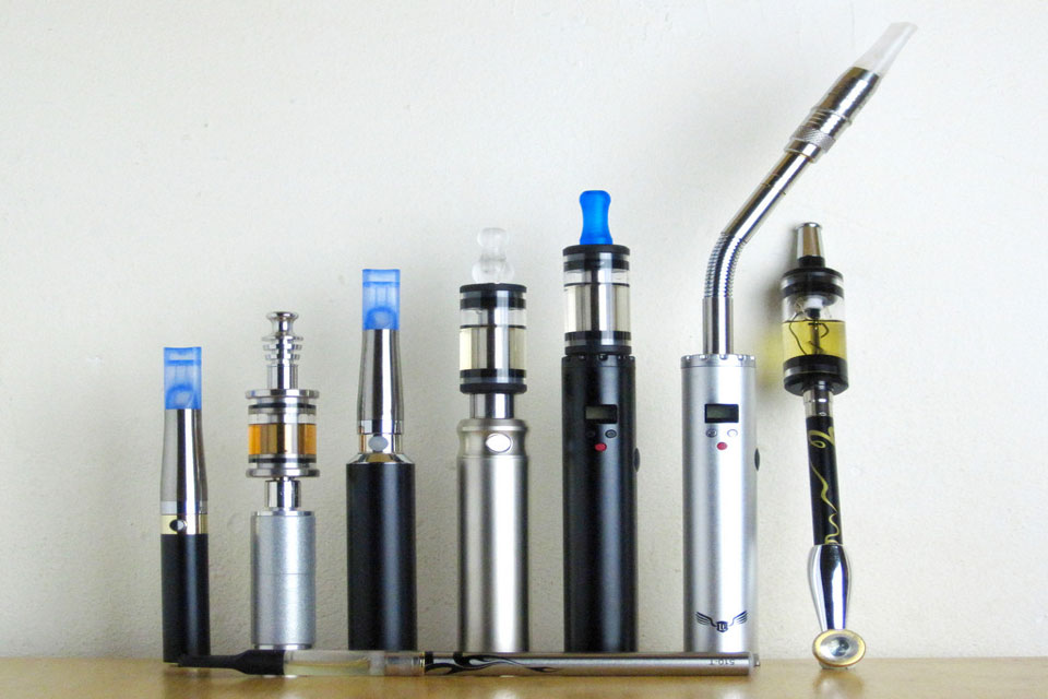Line-up of different types of e-cigarette