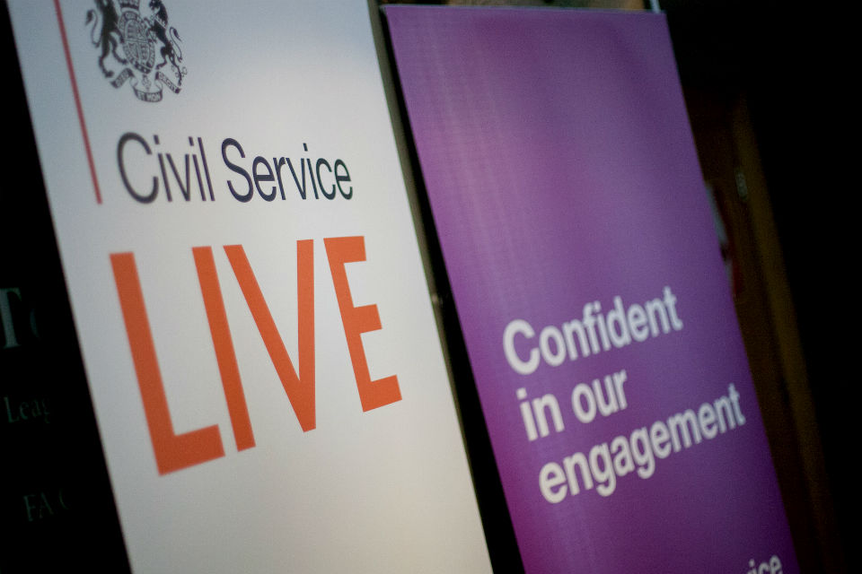 Two banners: Civil Service Live; and Confident in our engagement