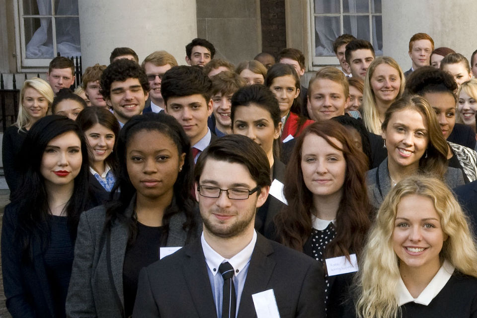 Group of Fast Track apprentices in courtyard of Old Admiralty Building
