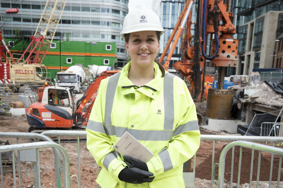 Laura Moran from the HSE visiting a building site