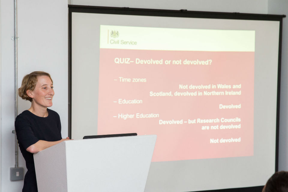 Lucy Smith, Constitution Director, presenting a devolution quiz at Civil Service Live Bristol