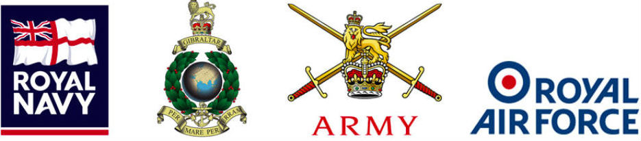 Insignia of the Armed Forces Reserves (l to r): Royal Naval Reserve, Royal Marines Reserve, Army Reserves, Royal Auxiliary Air Force