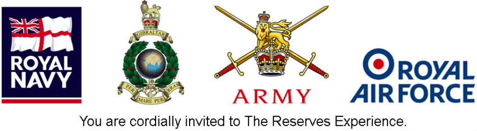 Insignia of the four Armed Forces Reserves (r to l): Royal Navy, Royal Marines, Army, RAF