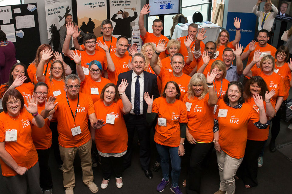 Sir Jeremy Heywood with volunteers at Civil Service Live Bristol