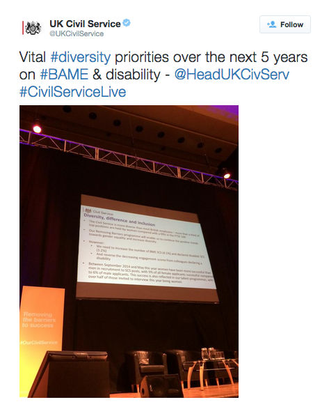 Sir Jeremy's diversity priorities for the Civil Service (via twitter)