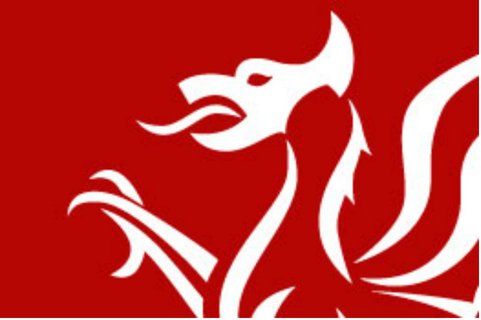 Detail from logo of Welsh Government showing head and shoulders of stylised dragon.
