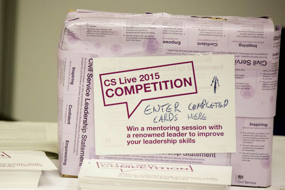 Box papered with Civil Service Leadership Statement and a label on the side requesting CS Live 2015 competition entry cards to be inserted.
