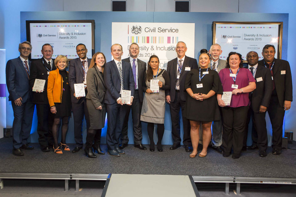 The 2015 Diversity & Inclusion Awards winners with sponsor Dr Nasser Siabi (far left), Diversity Champion Sue Owen (3rd from left) and Sir Jeremy Heywood (centre left).
