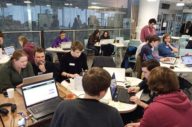 Photo of Hack day in action (c/o Civil Service Quarterly)