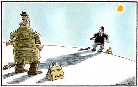 How Herald cartoonist Camley saw the standoff between Mr Big and the taxman.