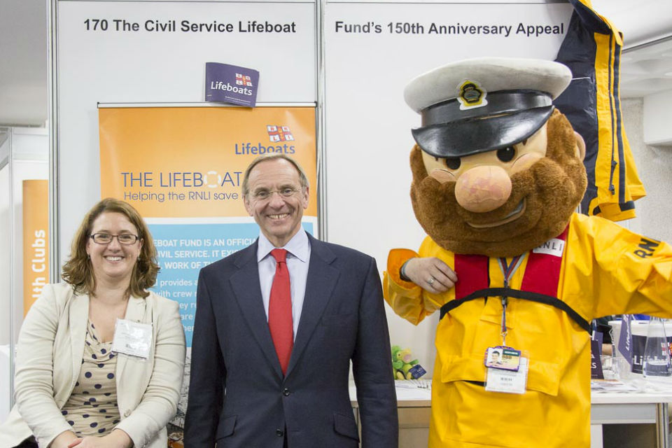 John Manzoni on the Civil Service Lifeboat appeal stand at Civil Service Live London 2015