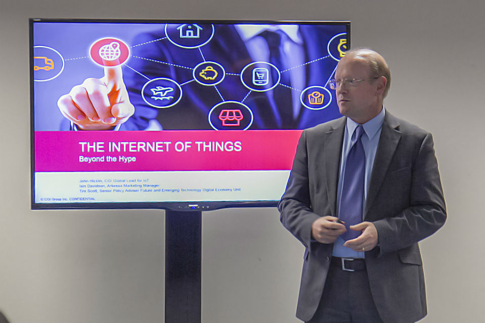 CGI's John Hicklin presenting Internet of Things (IN1) at Civil Service Live: Edinburgh