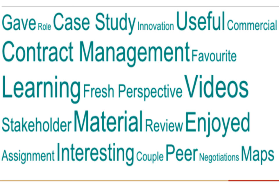 Word cloud describing the benefits of the Massive Open Online Course on contract management learning model