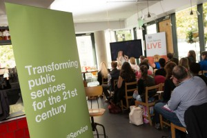 Transforming Public Services for the 21st Century banner at Civil Service Live 2015: Bristol