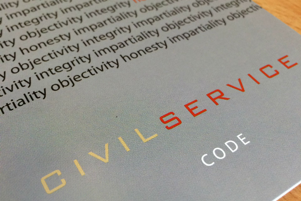 Shot of Civil Service Code booklet cover