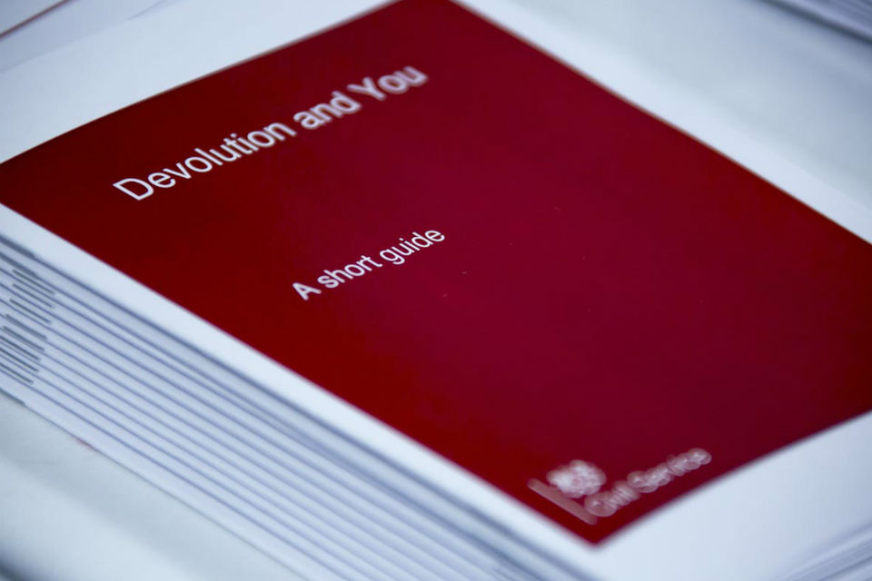 Pile of booklets, 'Devolution and You: a short guide'