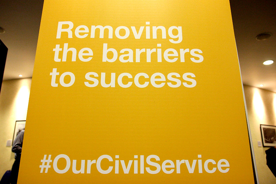 "Banner with legend ""Removing the barriers to success - #OurCivilService"""