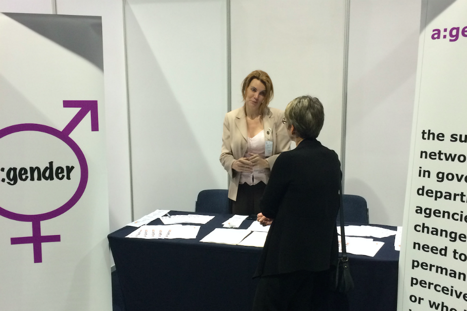 Jacqui on the a:gender stand at Civil Service Live 2015: Manchester