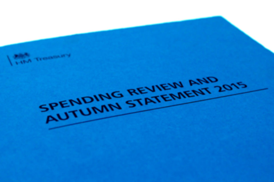 "Front cover of the ""Spending Review and Autumn Statement 2015"" document"