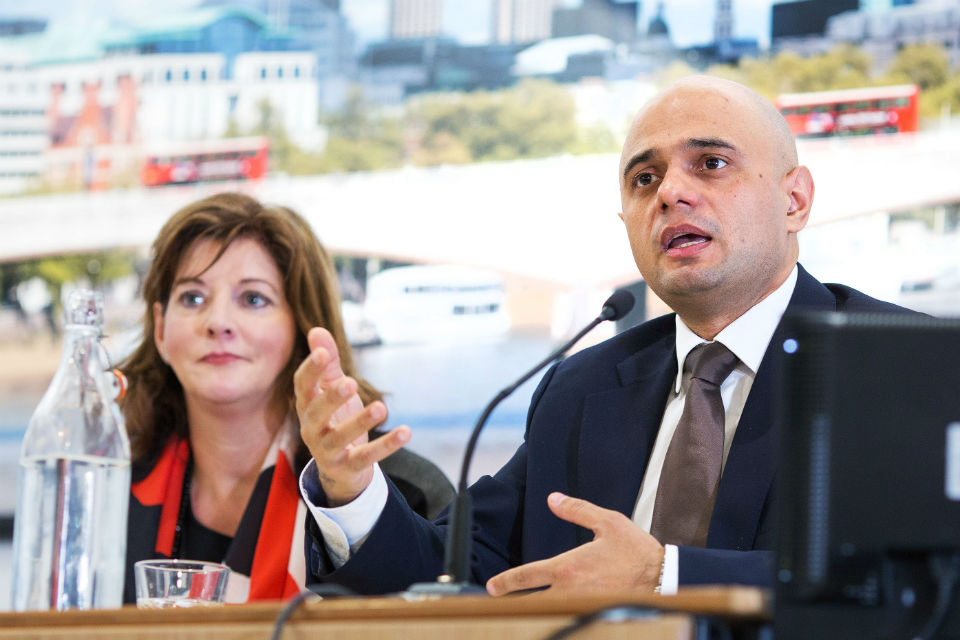 Tracy (left) with Sajid Javid