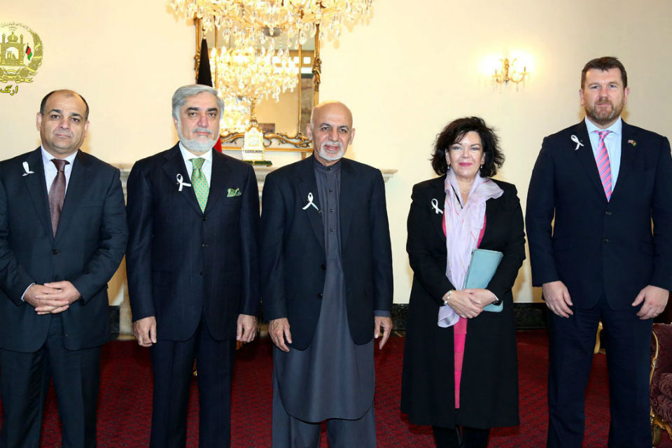 The Ambassador with President Ghani and Chief Executive Abdullah and Humanitarian Minister Wais Barmak with me and the Head of DFID in Kabul, Chris Austin