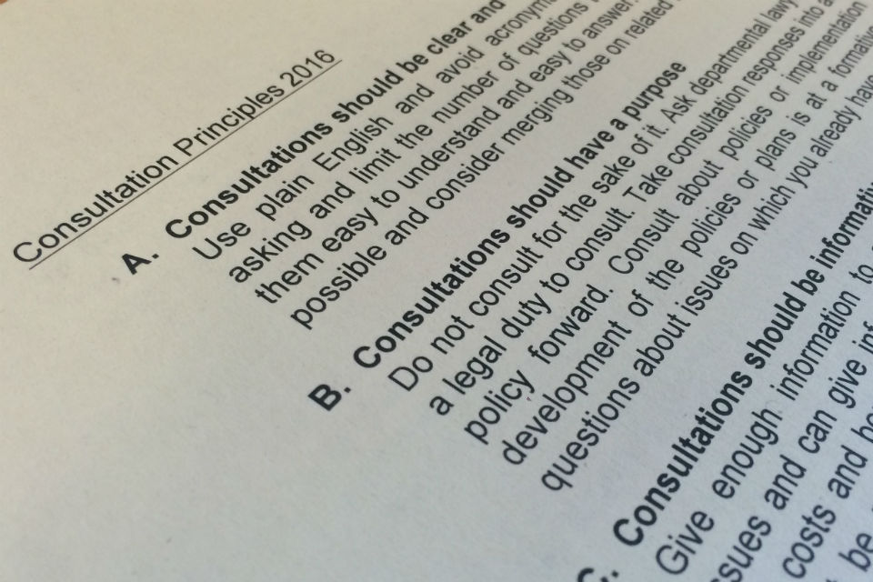 Document with heading Consultation Principles and section with first three principles