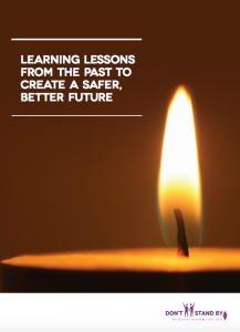 Candle burning with the caption 'Learning lessons from the past to create a safer, better future