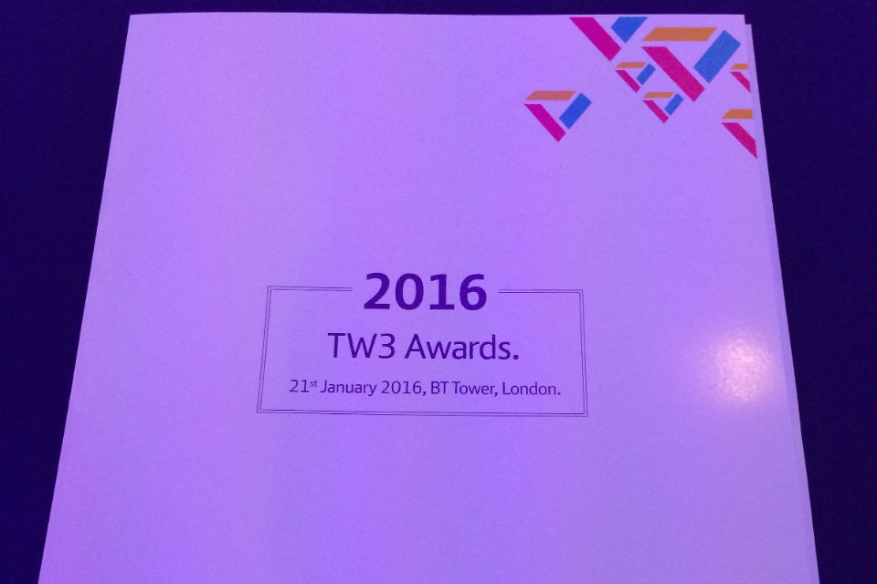Photo of the prestigious TW3 Awards programme