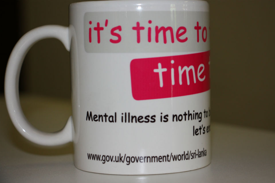 Time to Talk about Mental Health mug from the Sri Lankan Embassy