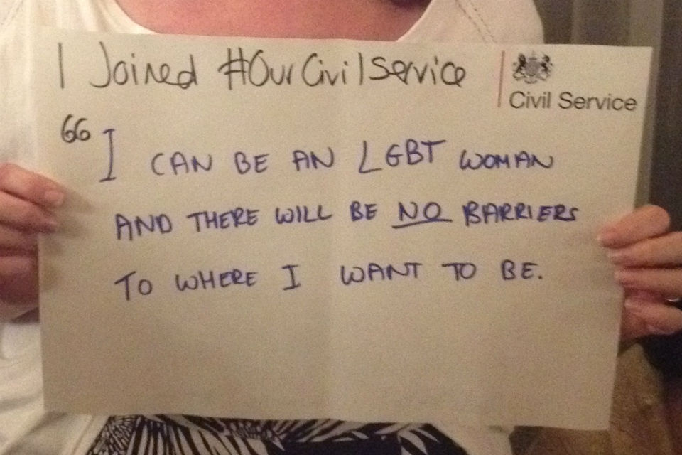Notice held by person declaring herself as an LGBT woman in the Civil Service