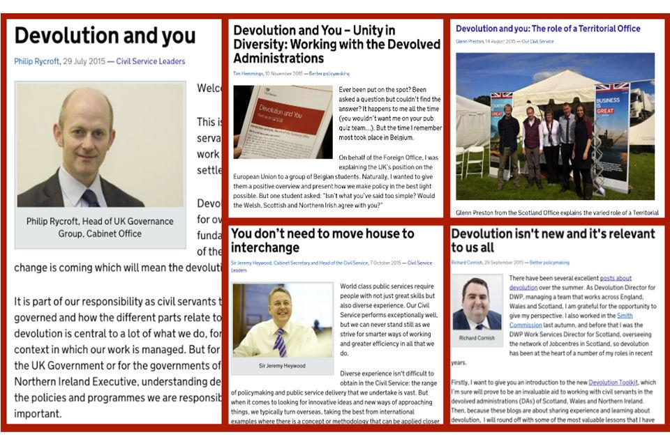 Composite image of a number of Devolution blog posts