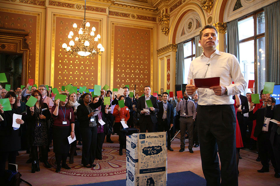 Former Ambassador Tom Fletcher and staff voting during an FCO Future event