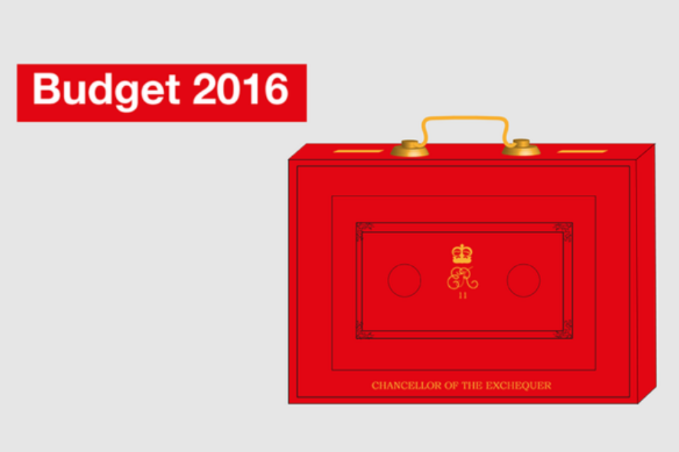 "Graphic with legend ""Budget 2016"" and image of the Chancellor of the Exchequer's red Budget box"