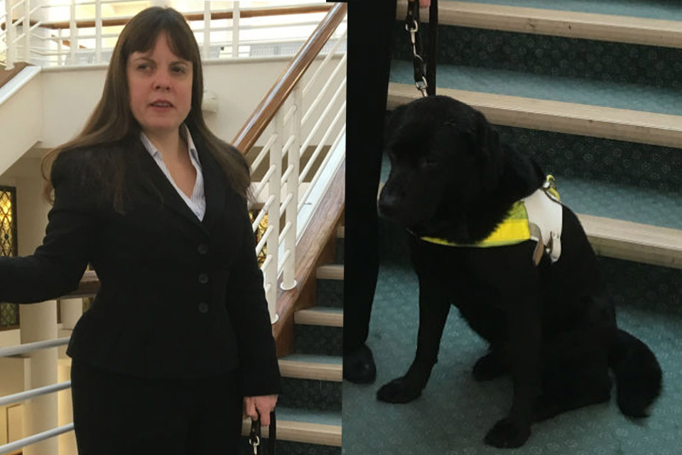 Lisa Boocock (left); guide dog (right)