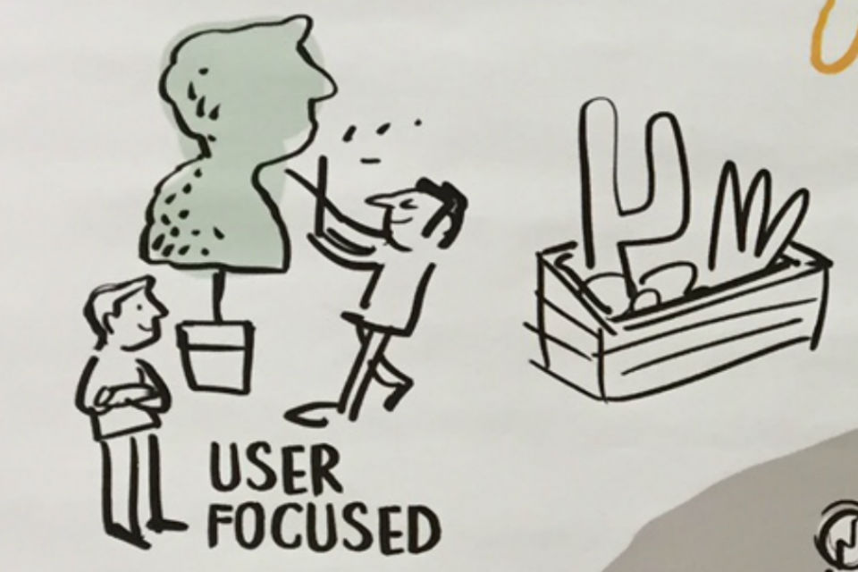 Detail from cartoon graphic depicting learning delivery approaches with man trimming hedge to shape of customer