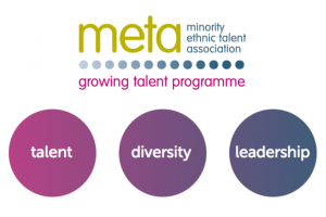 Minority Ethnic Talent Association logo and keyword bubbles