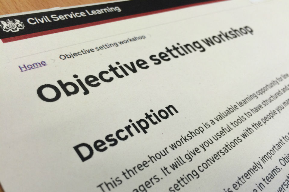 Page showing title and blurb for 'Objective setting workshop'