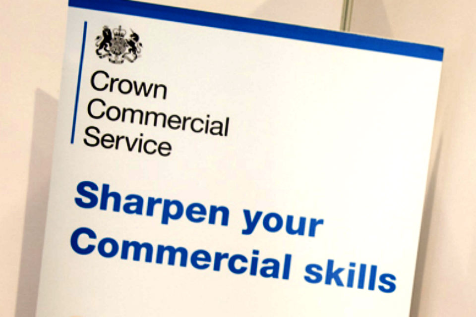 Crown Commercial Service banner with legend 'Sharpen your commercial skills'