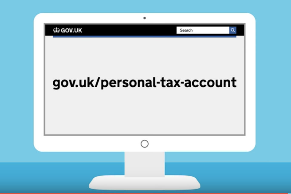 Graphic of computer screen with text 'gov.uk/personal-tax-account'