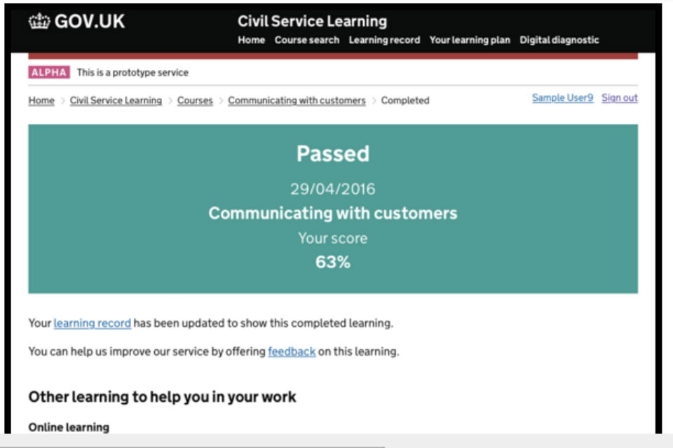 Screenshot of Civil Service Learning alpha