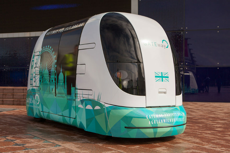 Autonomous shuttle vehicle at the O2 in Greenwich