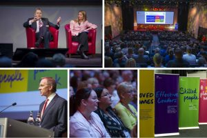 Composite of five images from conference