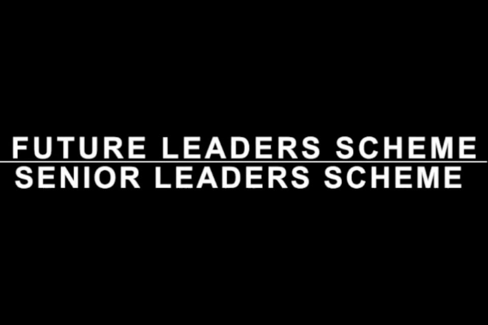 Leaders scheme titles in white type on black background divided by white line