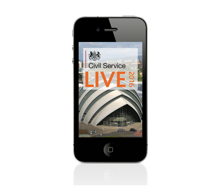 Mobile phone displaying Civil Service Live 2016 app