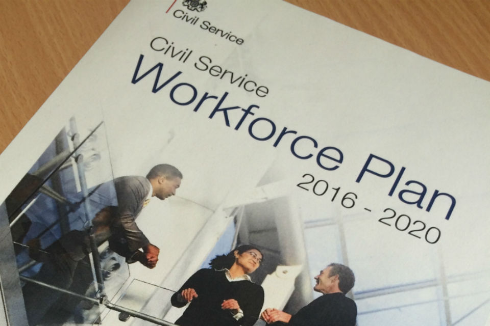 Front cover of Workforce Plan on desk