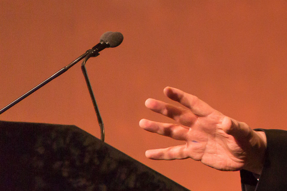 microphone and hand