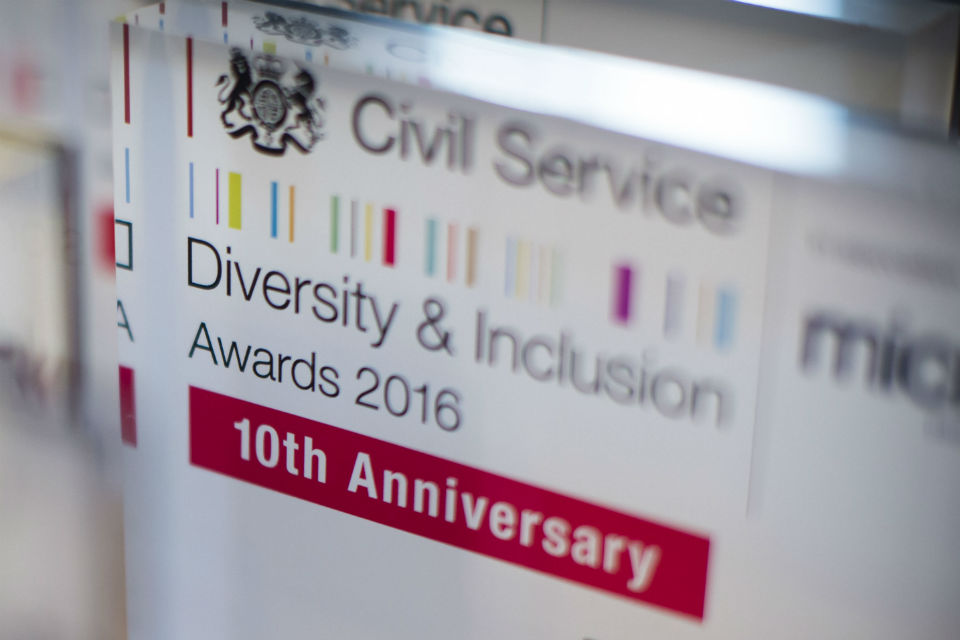 Civil Service D&I Awards 2016 winner's plaque