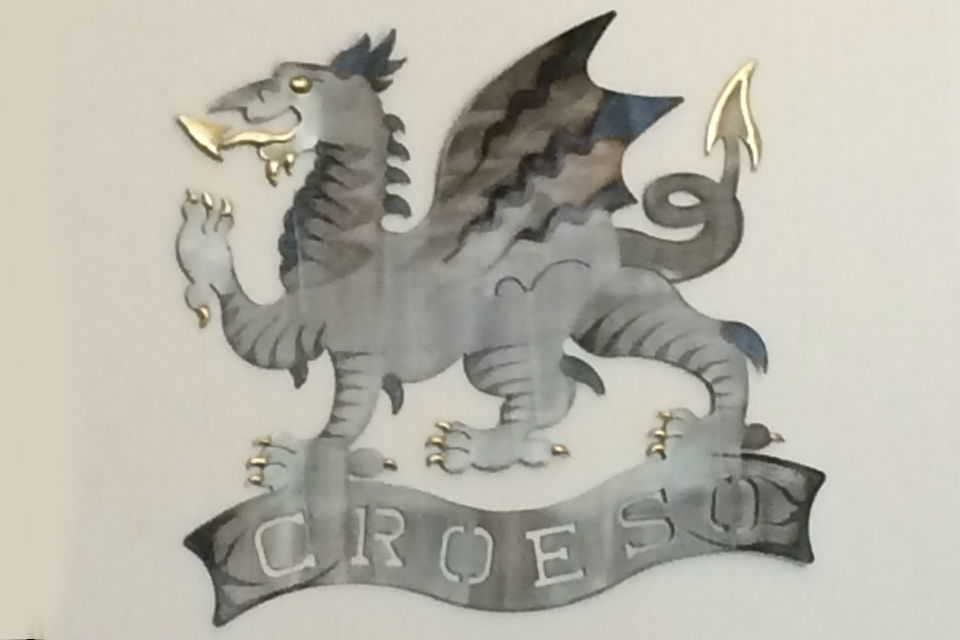 Steel Welsh dragon plaque with legend 'Croeso' (welcome)