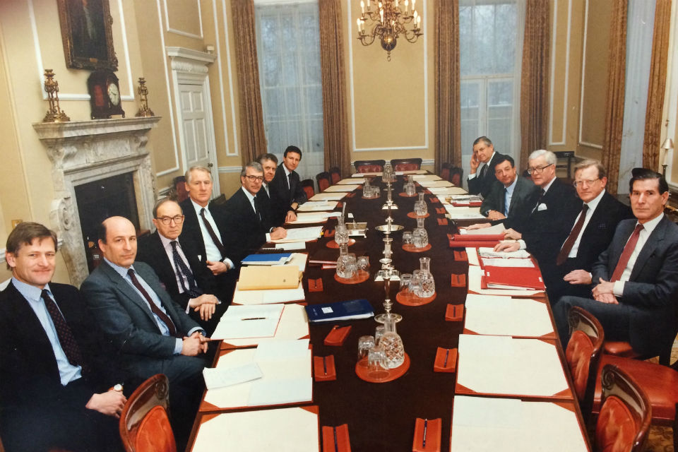 Robin Butler (fourth left), Cabinet Secretary 1988-98, at the Cabinet table